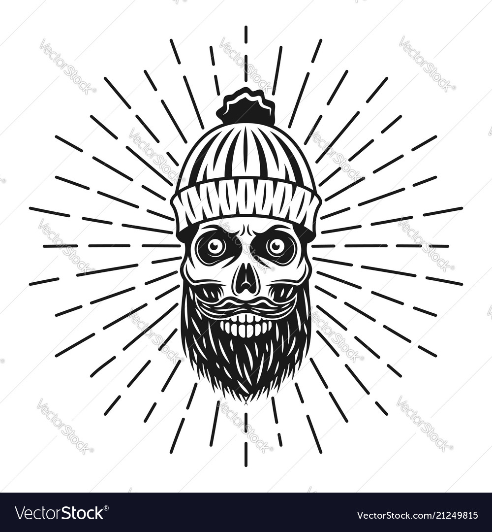 Lumberjack skull in knitted hat with rays