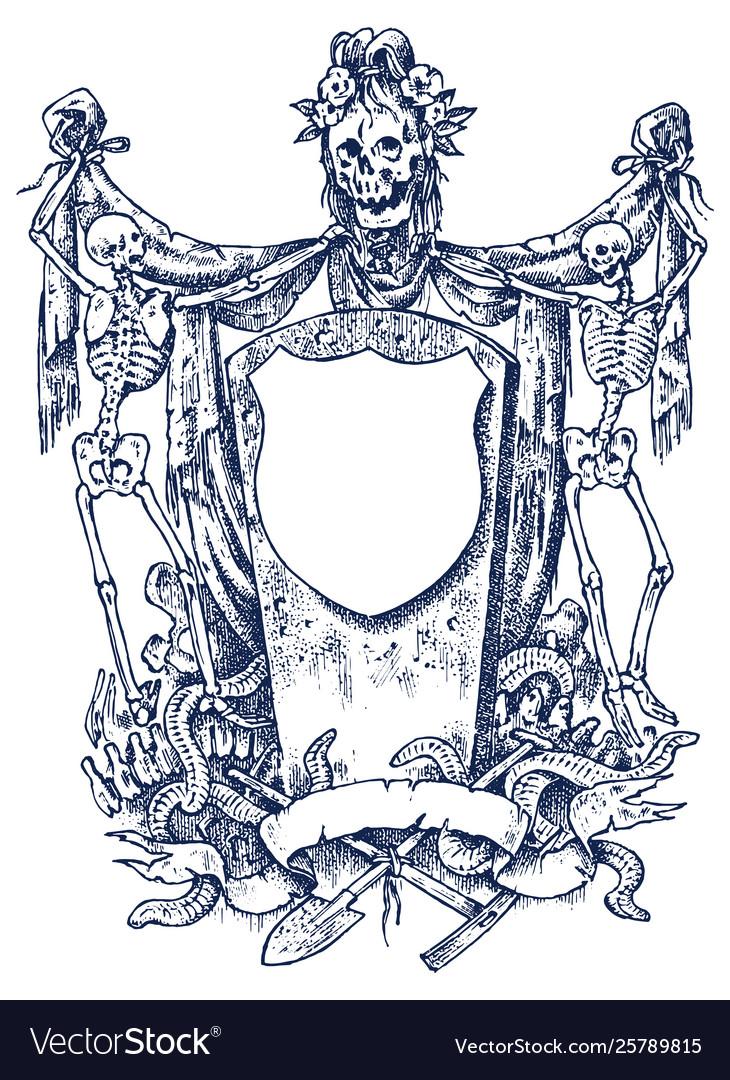 Medieval vintage heraldry ornament with