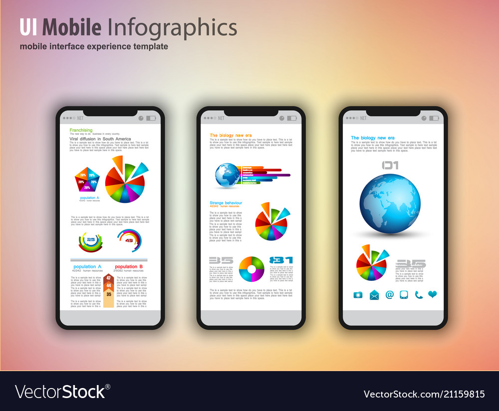 Modern touchscreen mockup phones with technology