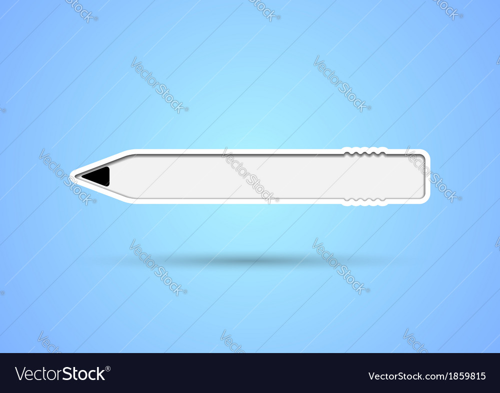 Pencil shaped sticker with eraser and inner shadow