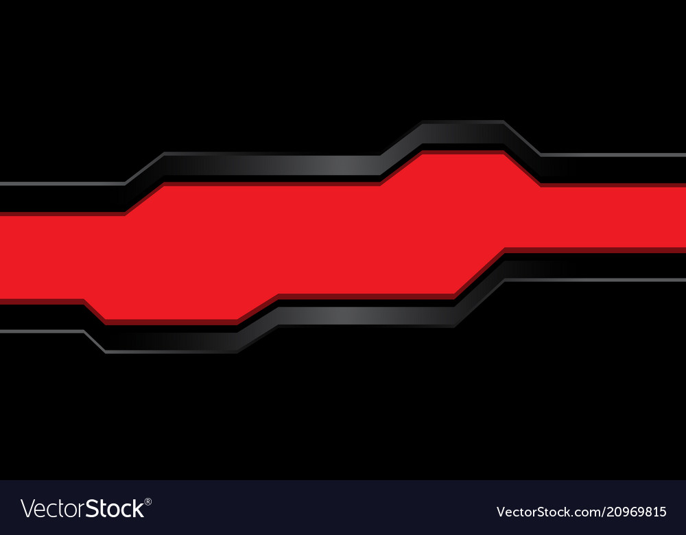 Red metal polygon futuristic banner on black vector image