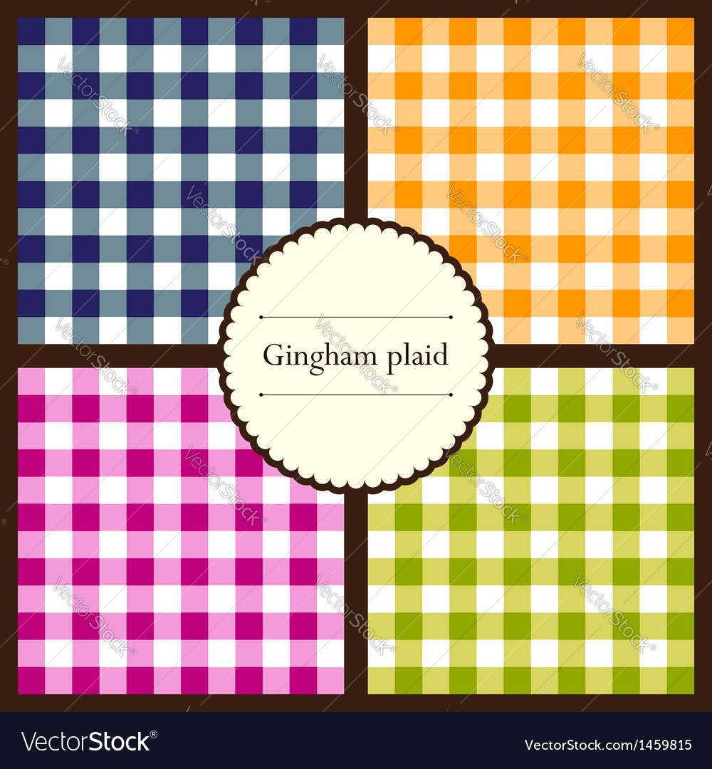 Set gingham plaid patterns