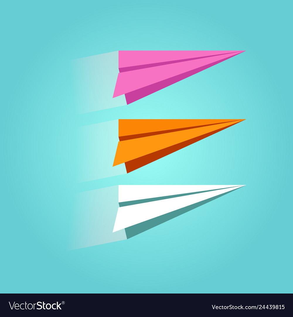 Set of colorful paper plane icons isolated on