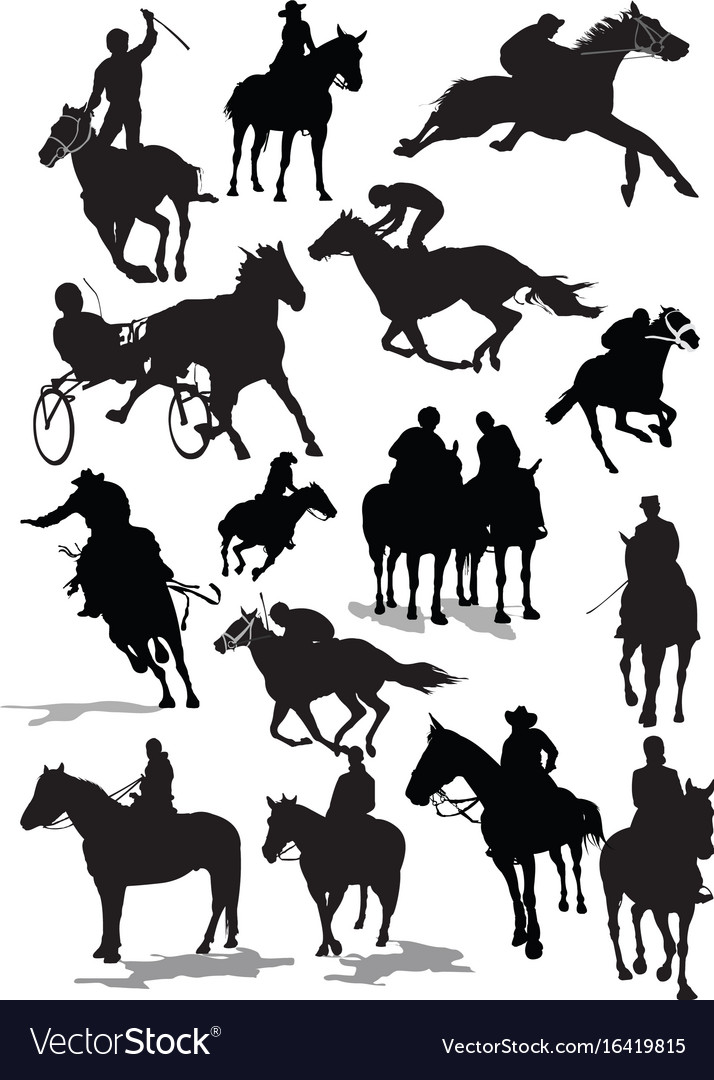 Sixteen horse racing silhouettes colored