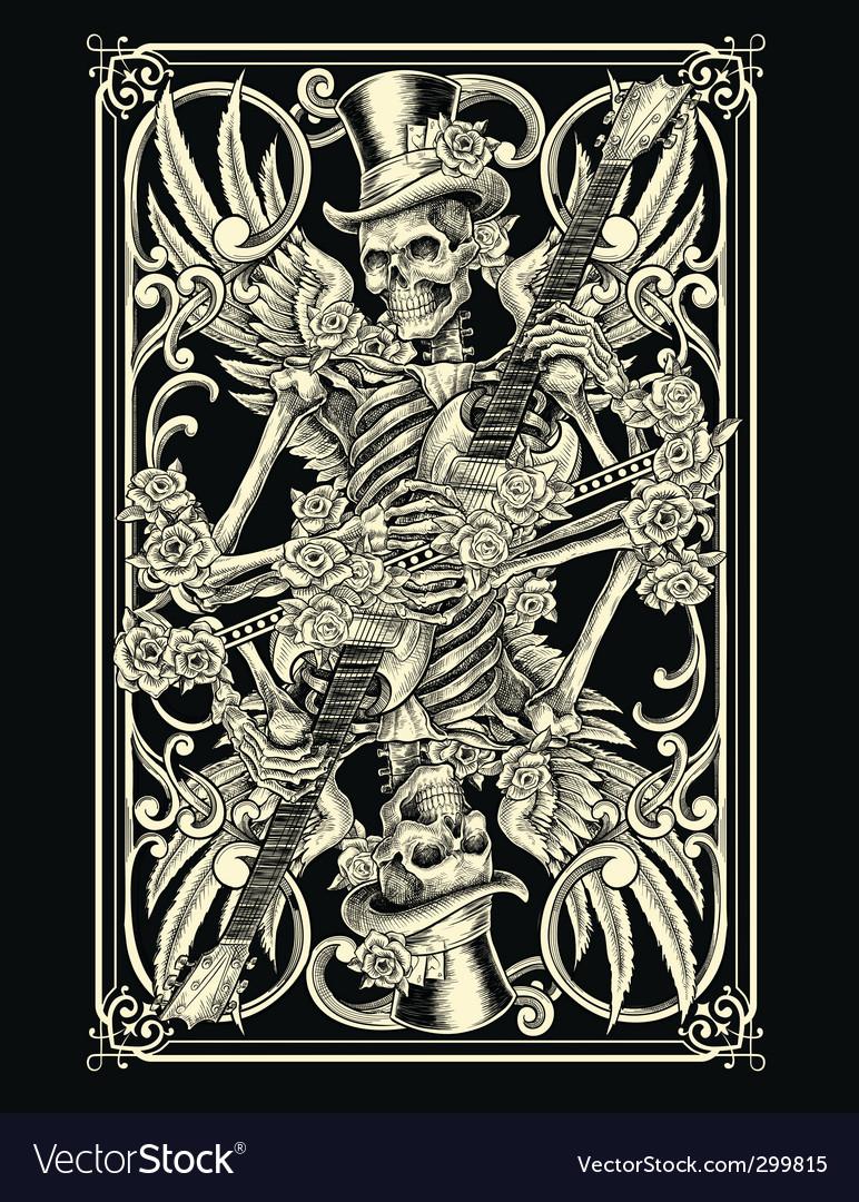 Skeleton playing card vector image