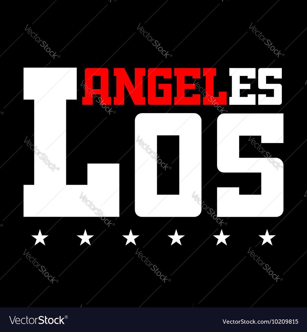 T shirt typography Los Angeles CA stars black