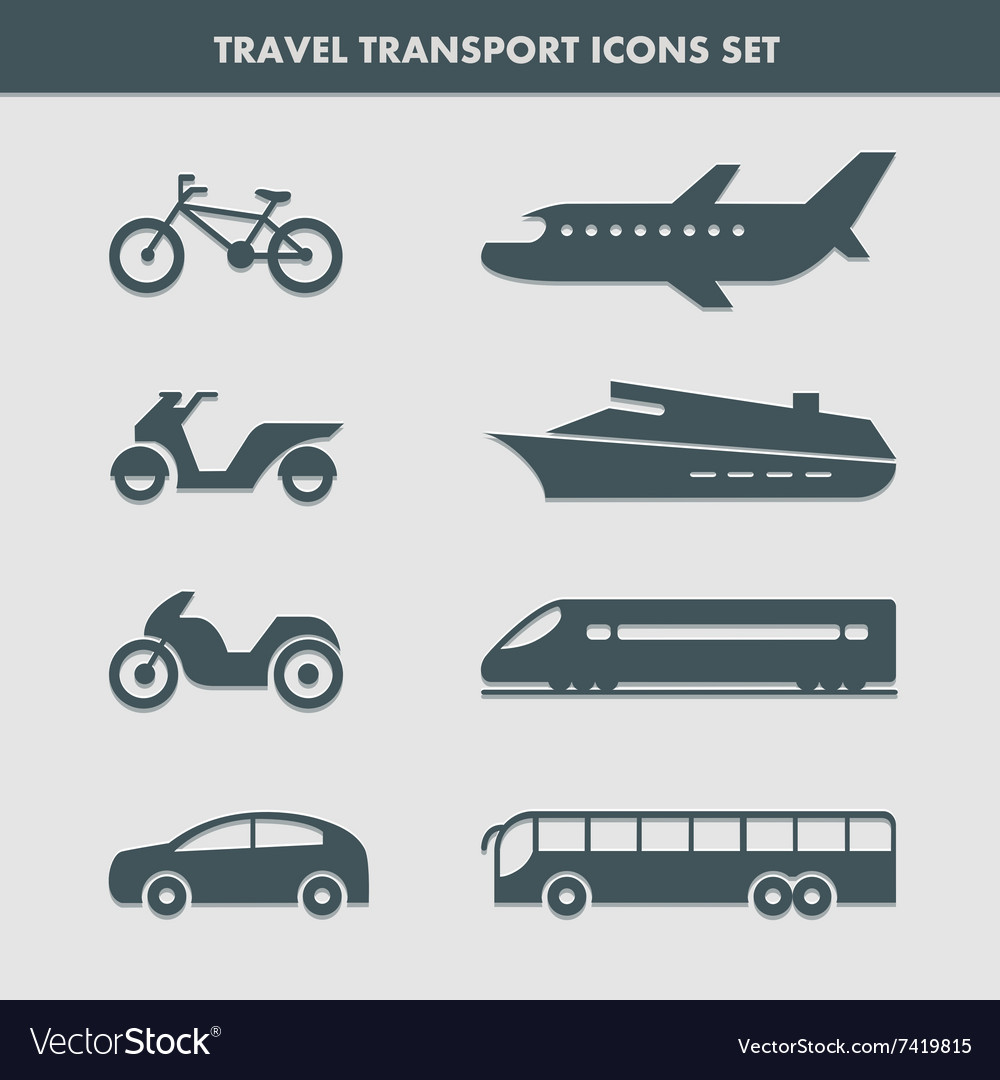 Travel transport icons set
