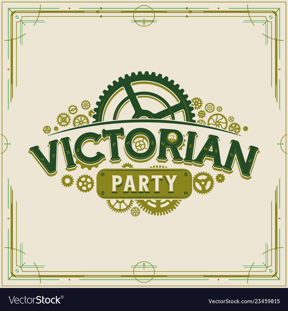 Victorian party vintage logo design victorian era
