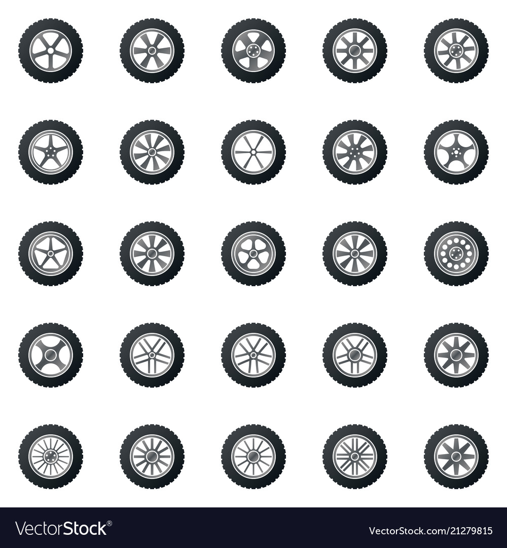 Wheel icons colored set - car wheels disks