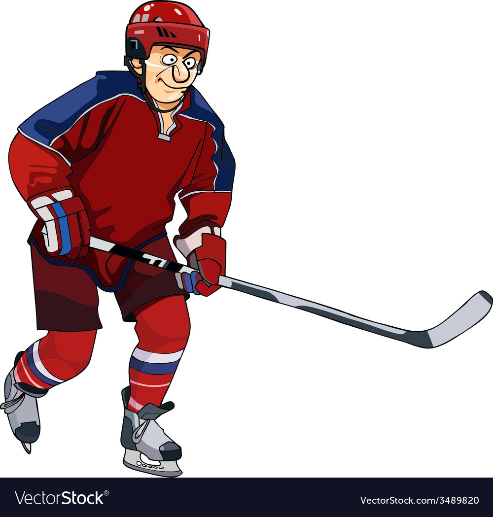 Cartoon Hockey Player In The Red Form With A Stick