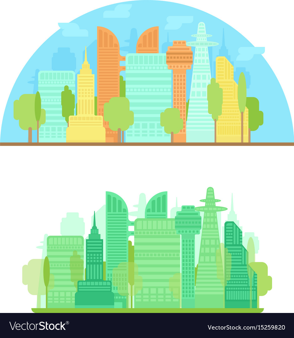Colorful city silhouette and green city in flat