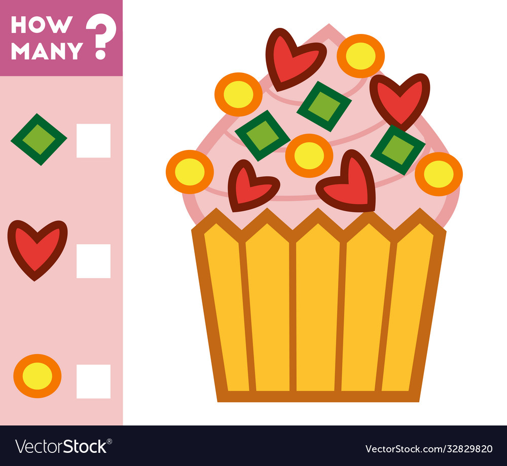 Counting game for children count how many cupcake