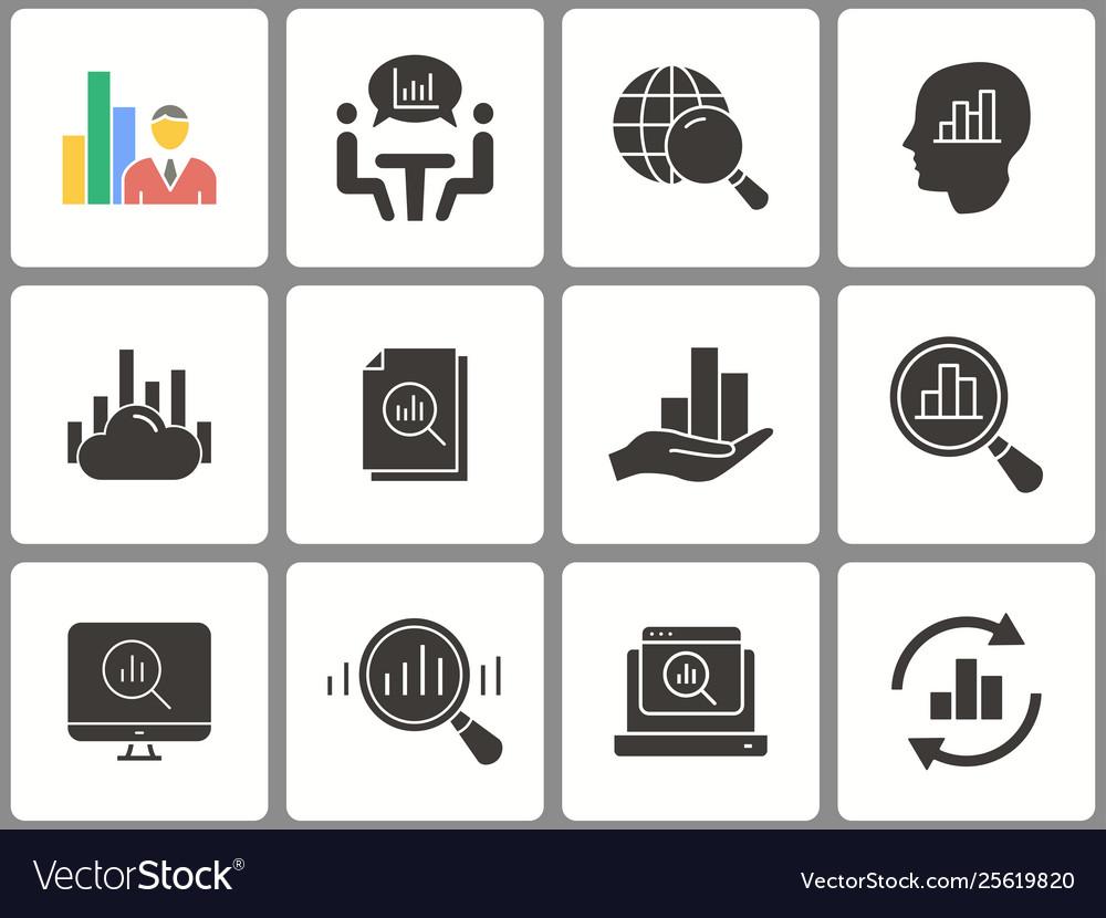 Data analysis icon set isolated on