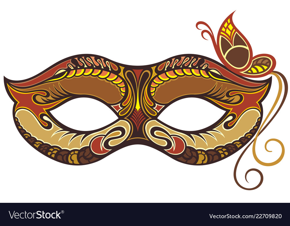 Decorative carnival mask with butterfly