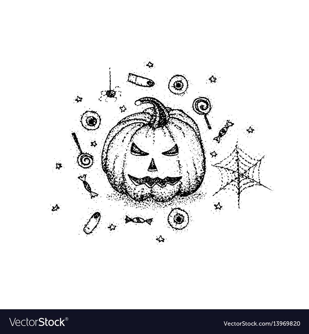 Dotwork halloween pumpkin vector image