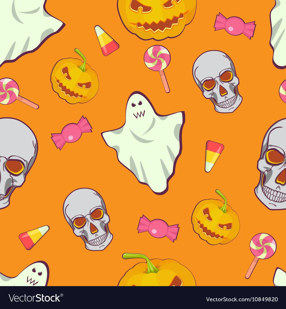Halloween seamless bright kids cartoon pattern
