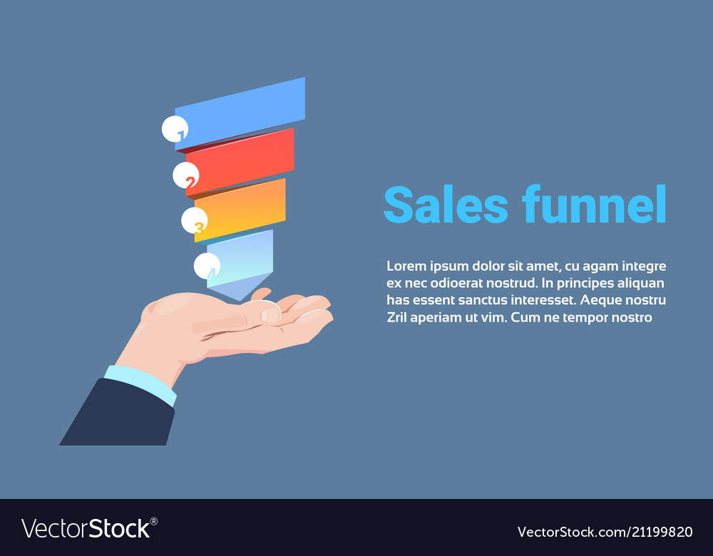 Hand hold sales funnel with steps stages business