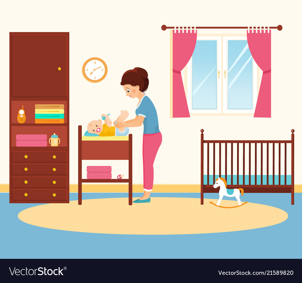8115818af03d Mother changing diaper in baby room Royalty Free Vector