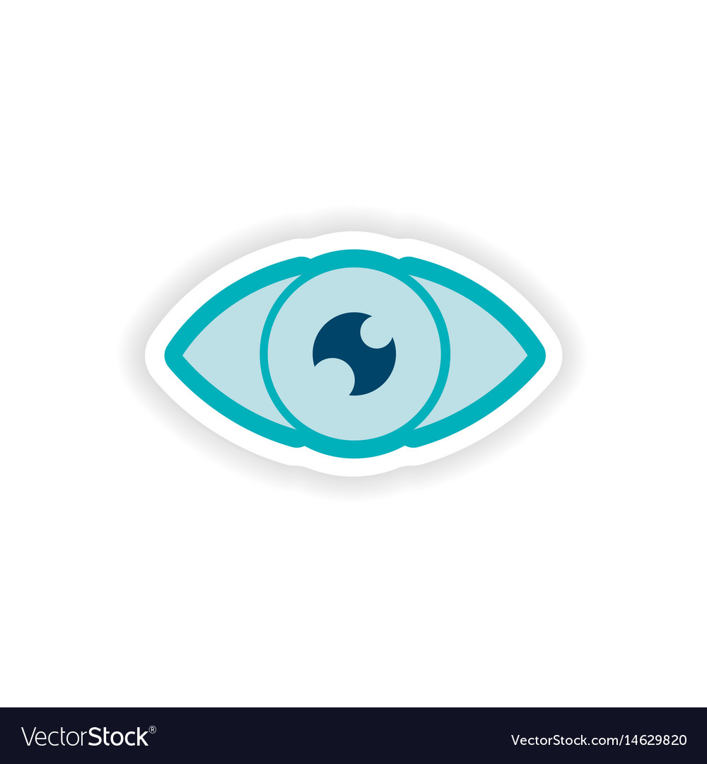 Paper sticker on white background human eye