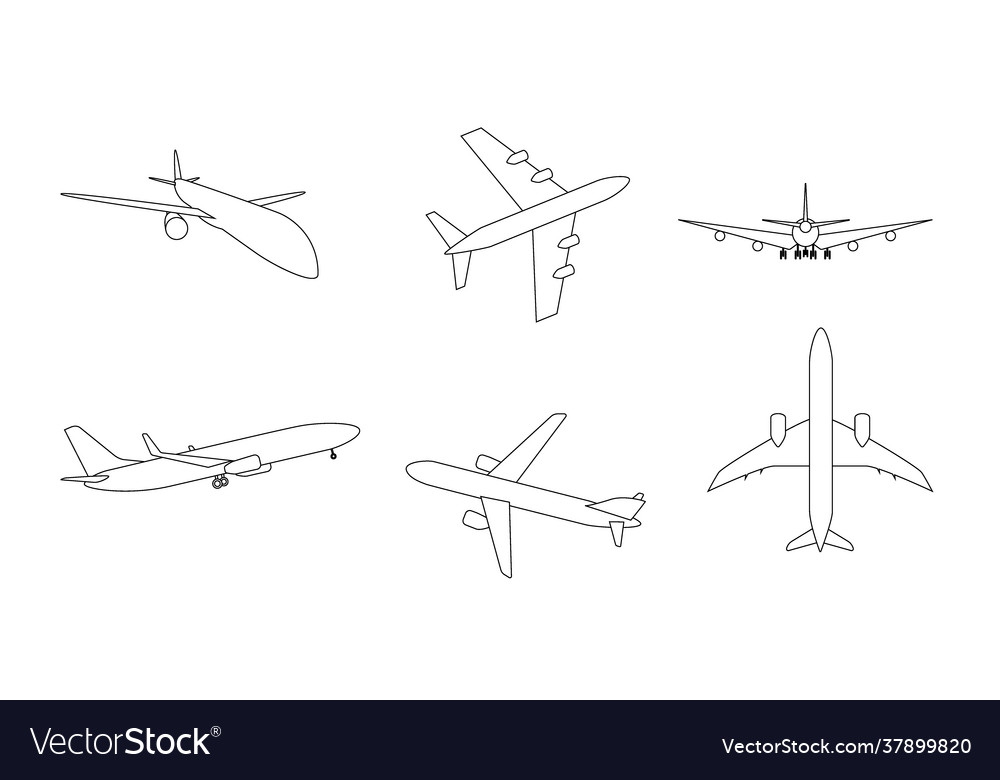 Silhouette black and white aircraft in sky