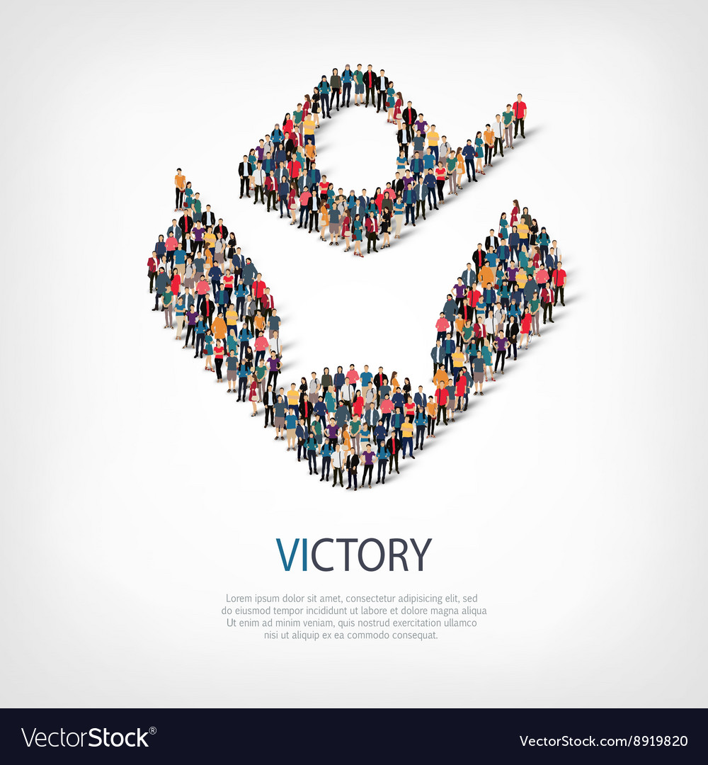 Victory people sign 3d