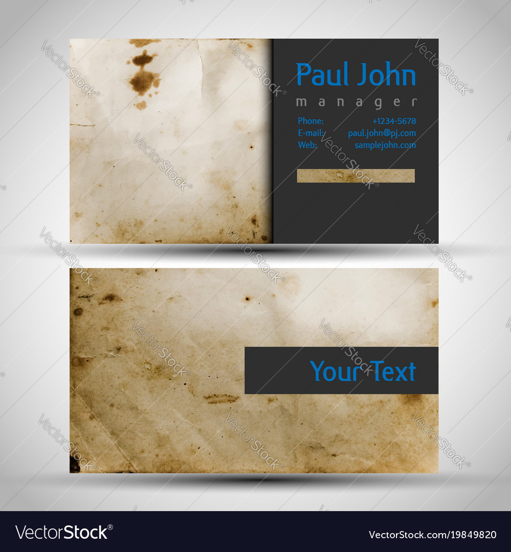 vintage business card front and back royalty free vector