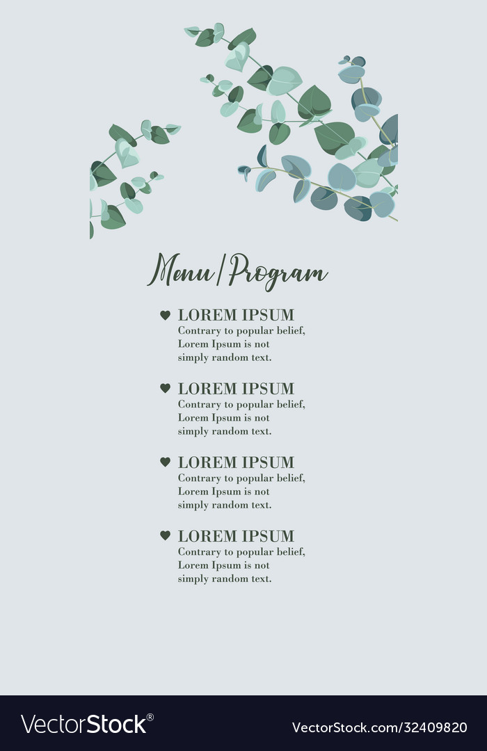 Wedding menu card with eucalyptus leaves rustic vector