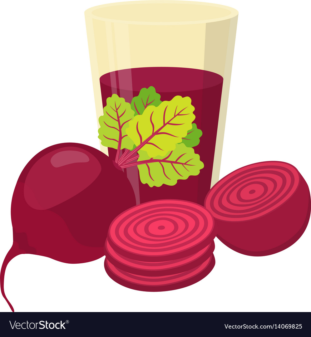 Beetroot juice beetroot and slices flat style