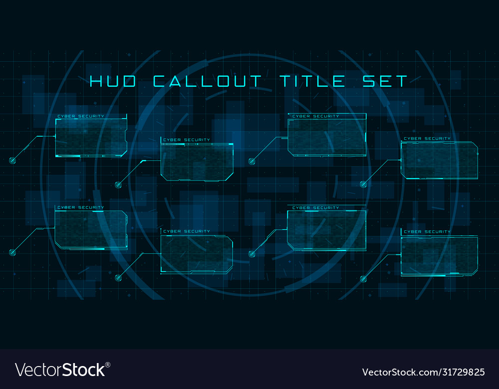 Callout titles in hud style set futuristic