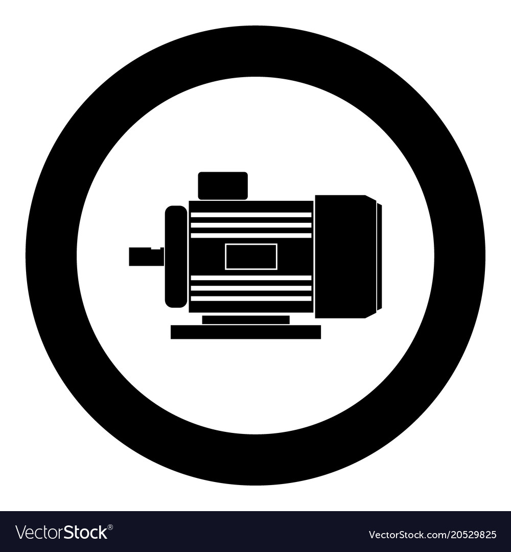 Electric Motor Icon Black Color In Circle Vector Image