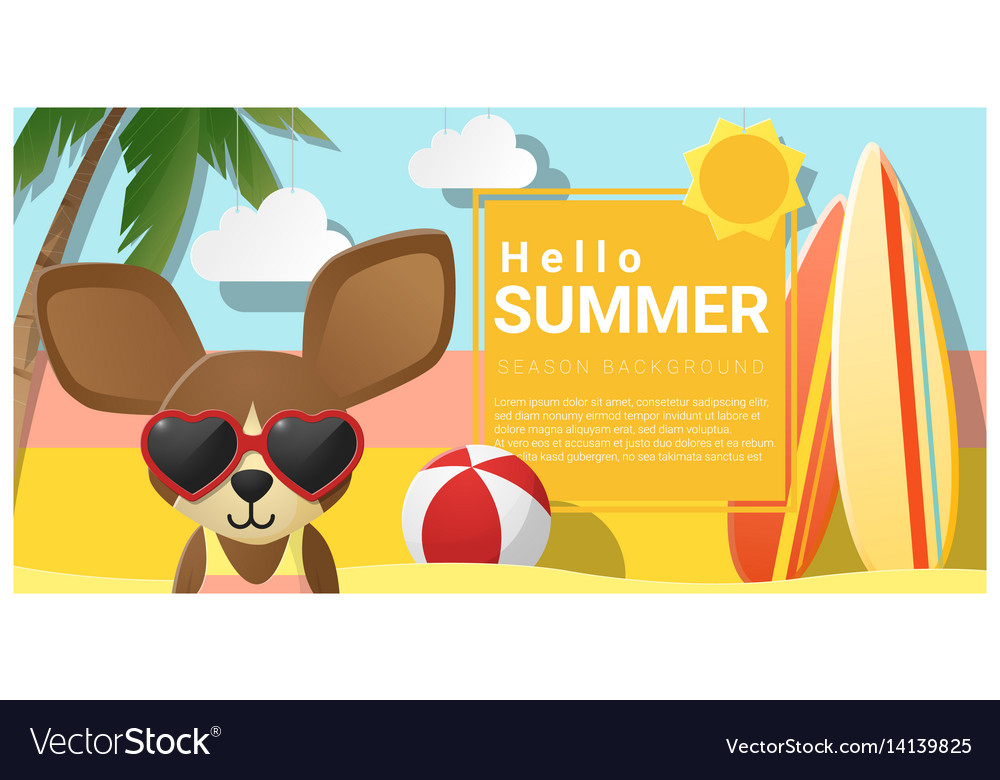 Hello summer background with dog