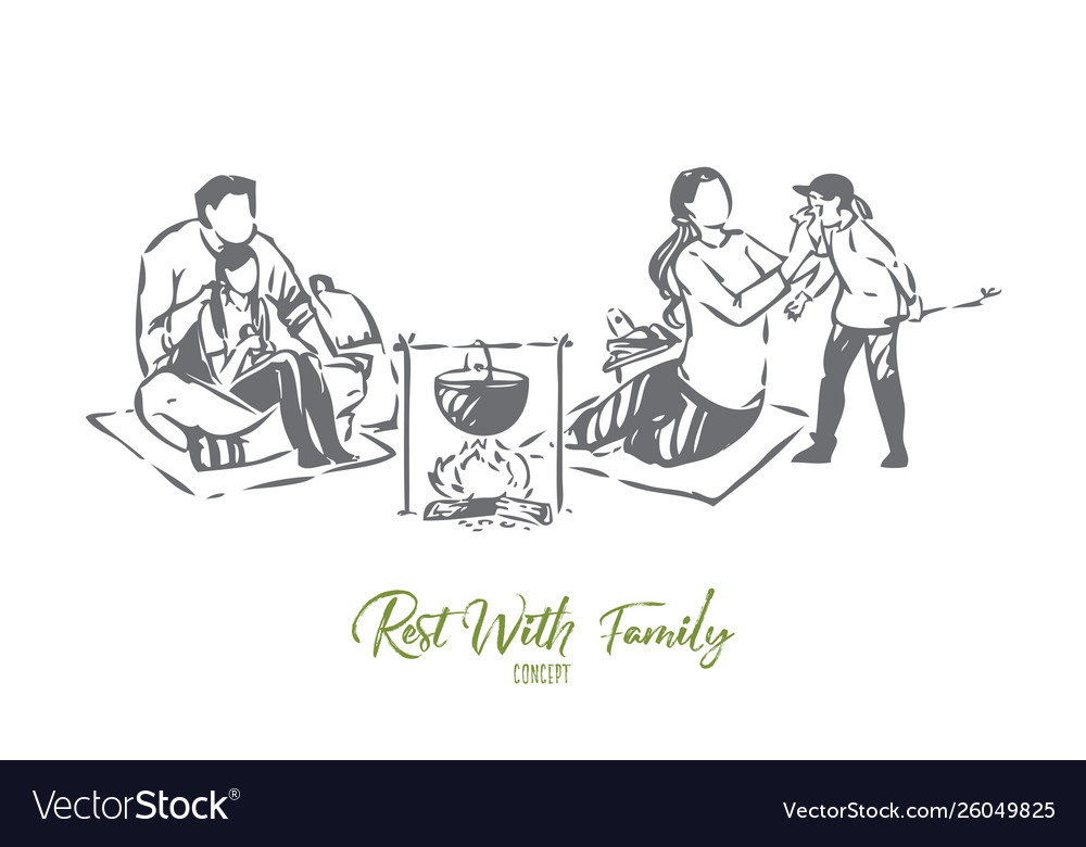 Pastime with family concept sketch