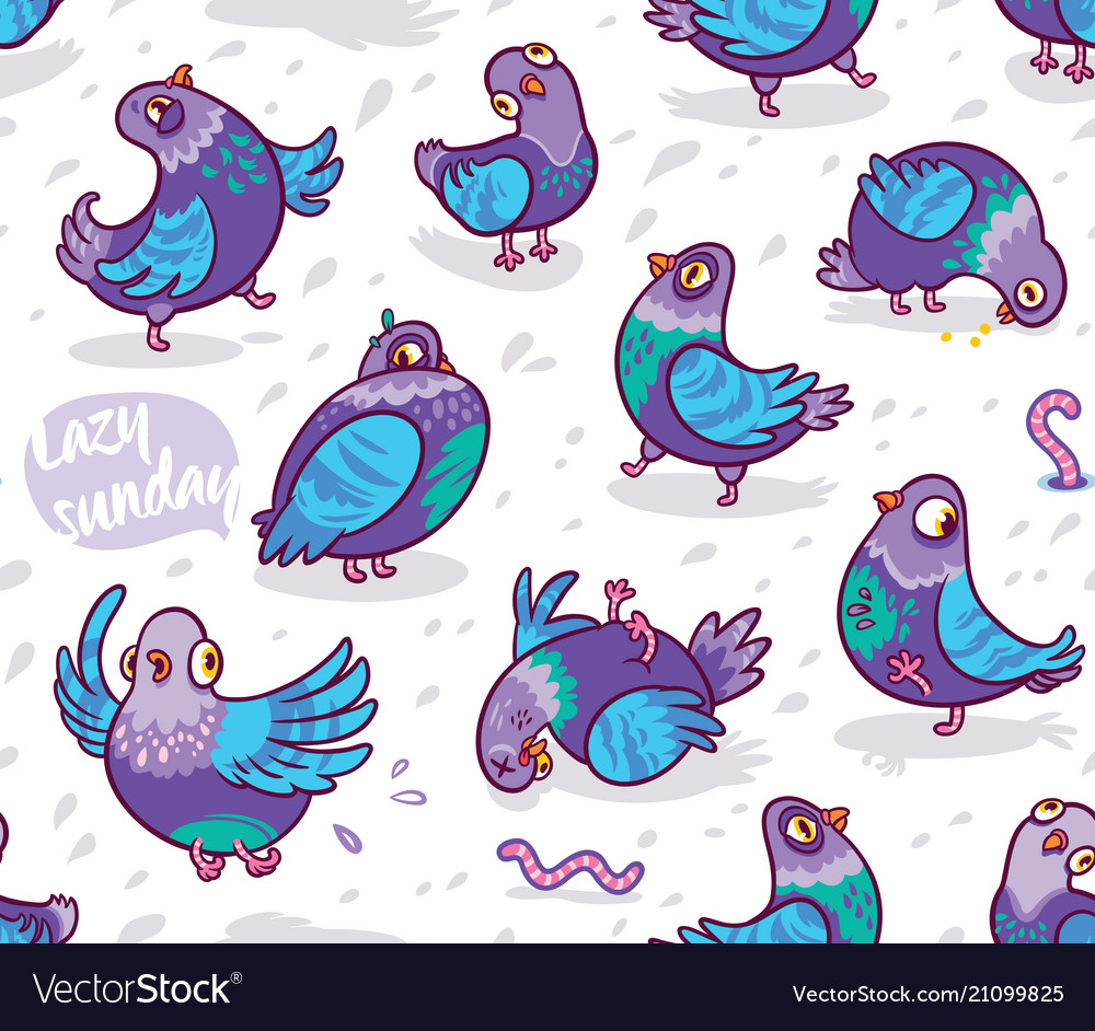 Seamless pattern with cartoon pigeons design for