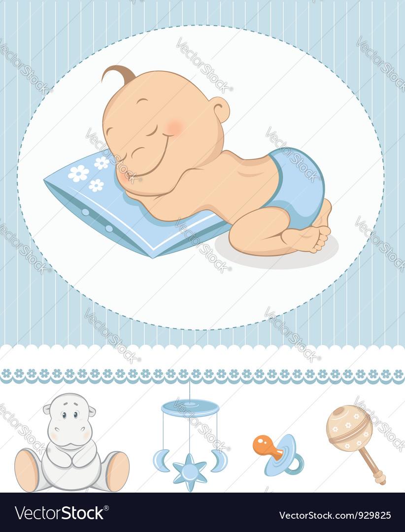 Sleeping boy arrival vector image