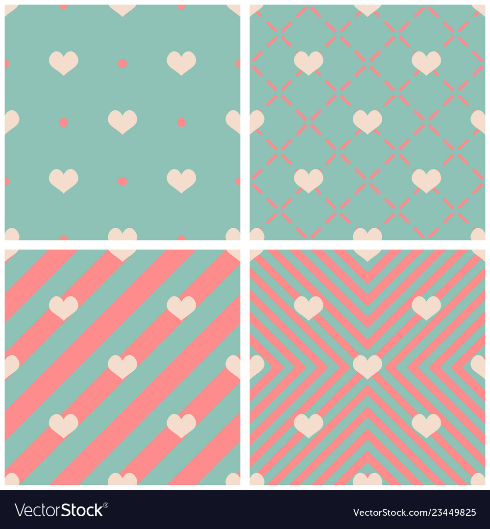 Tile pattern with hearts on pink green background
