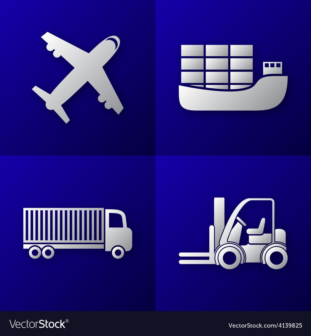 Transport export import icon set