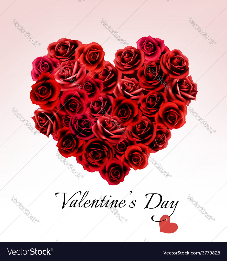 Valentines day gift card heart made red roses Vector Image