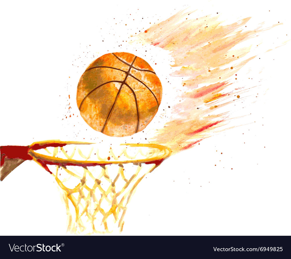 Watercolor basketball ball thrown in a basket