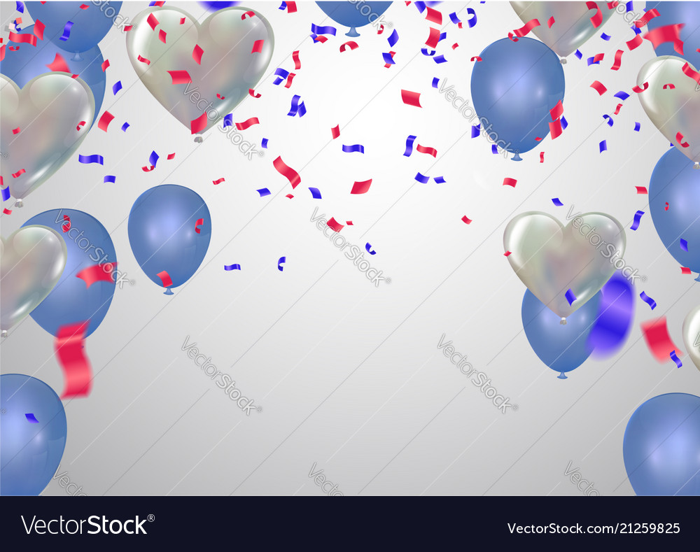 White background with light blue balloons and