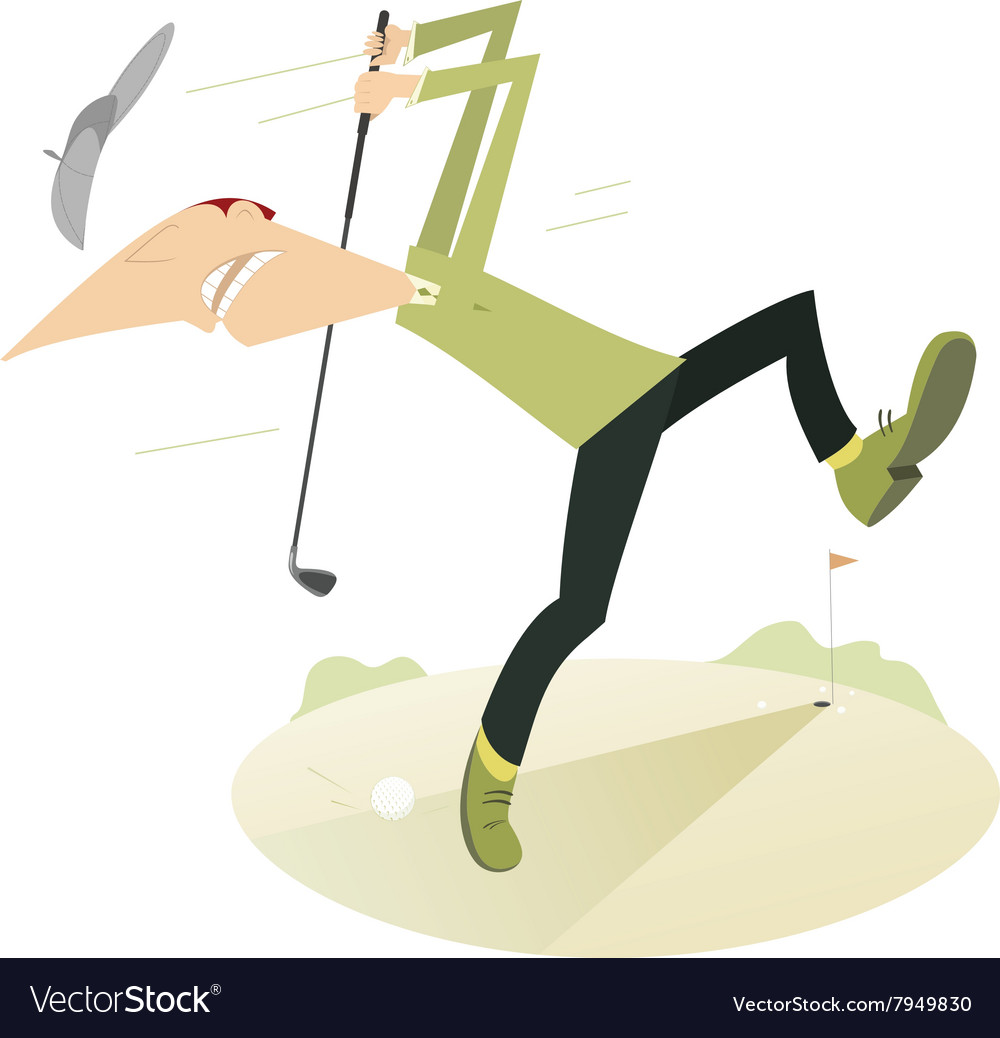 Angry Golfer Playing Golf Royalty Free Vector Image