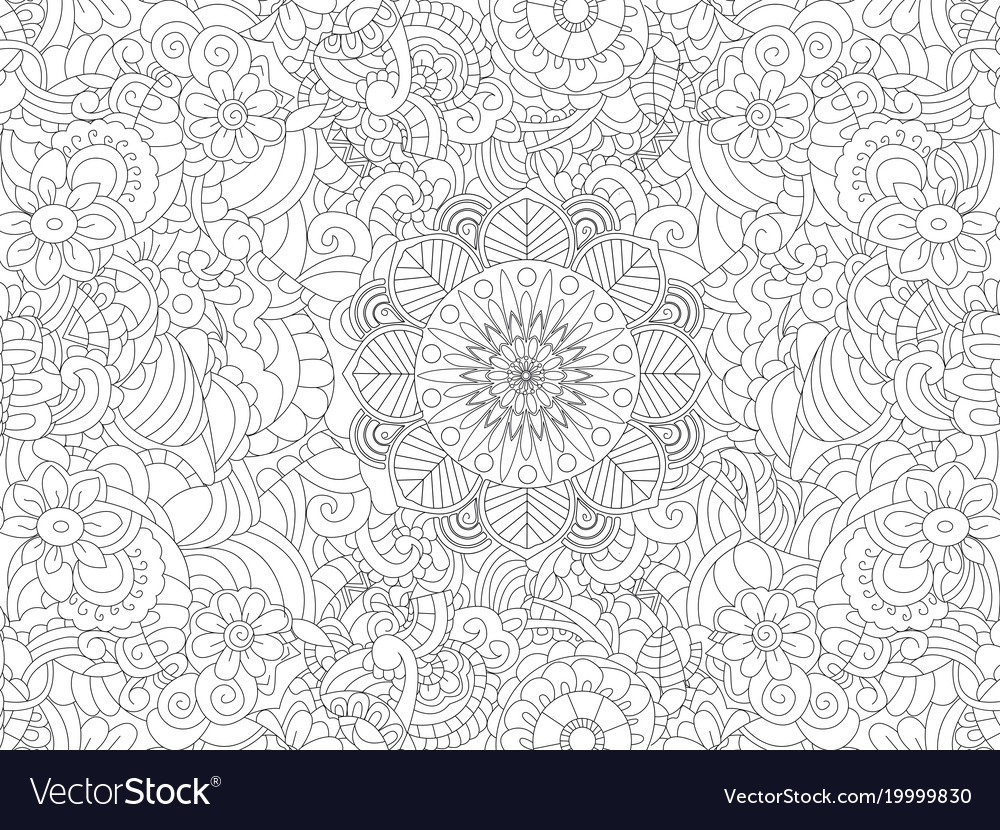 - Antistress Coloring Book Floral Ornament On The Vector Image