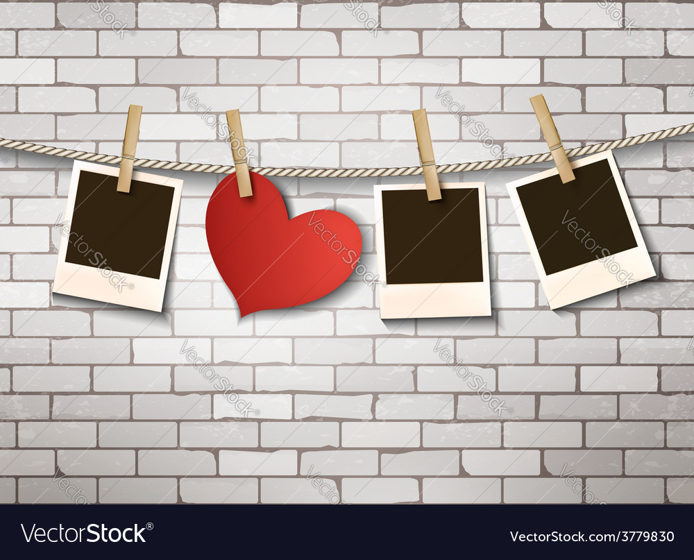 Background with heart and photos Valentines day vector image