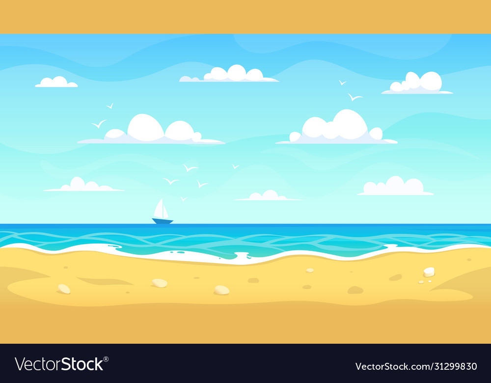 Cartoon beach landscape summer ocean sandy