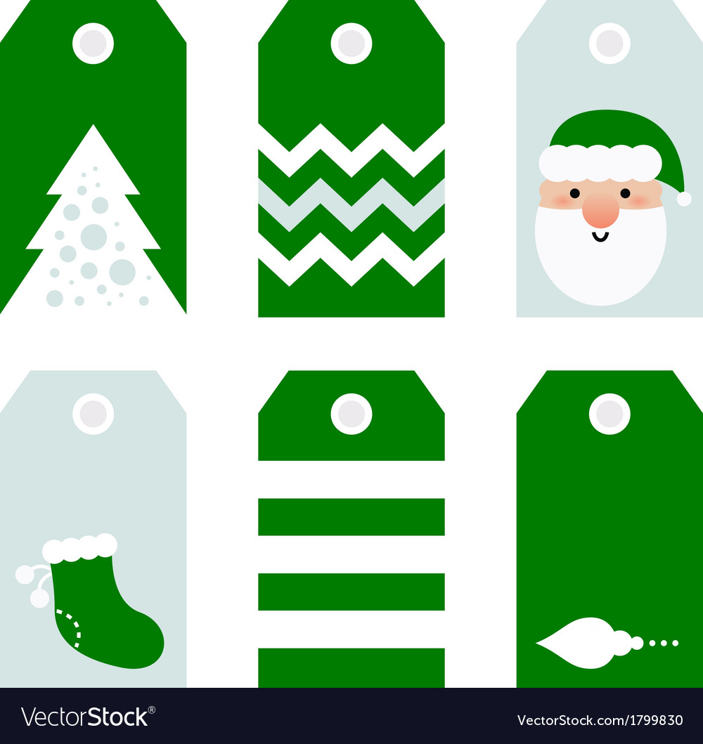 Cute modern Christmas holiday gift tags printables vector image