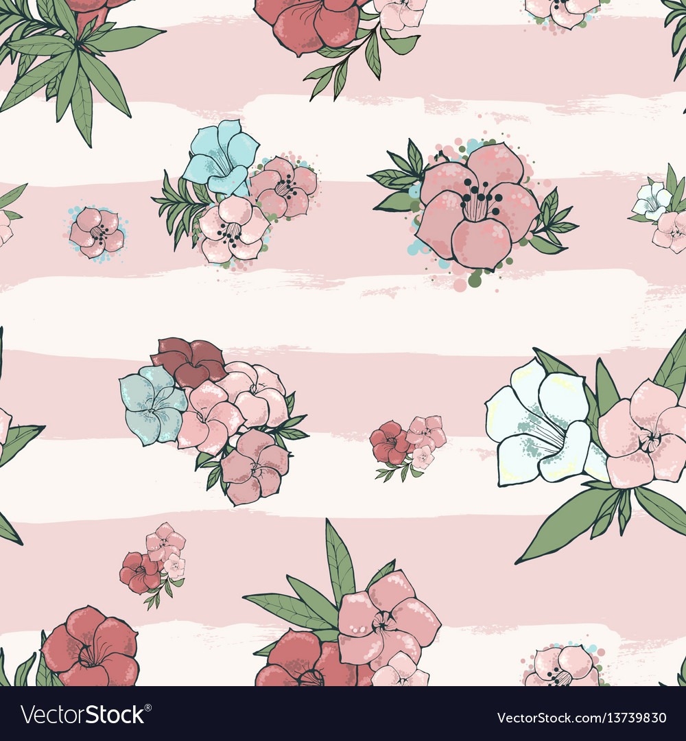 Exotic colorful flowers set vector image