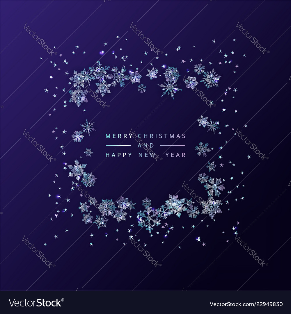 5c075a881385 Frame of crystal snowflakes Royalty Free Vector Image
