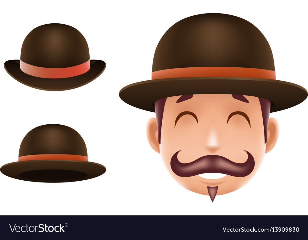 Gentleman victorian business cartoon bowler hat