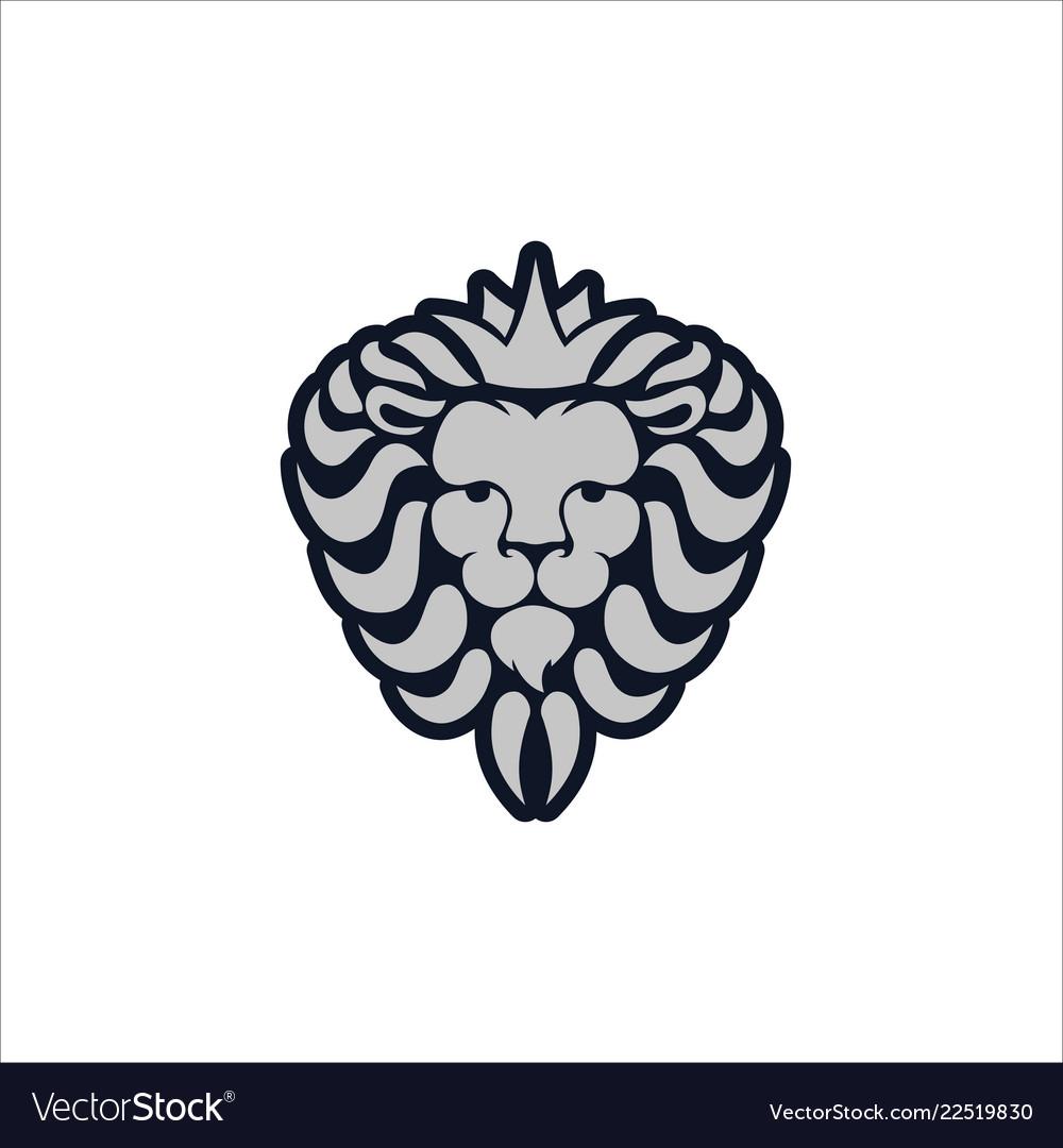 Lion logo lion head with crown