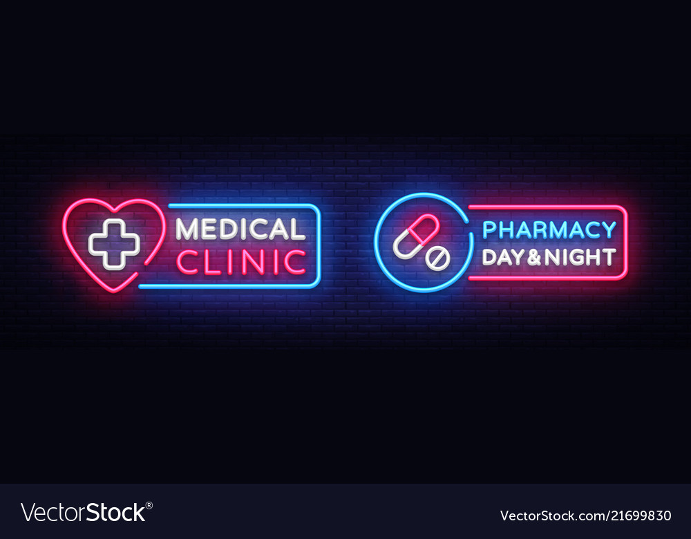Medical neon sign design template pharmacy neon