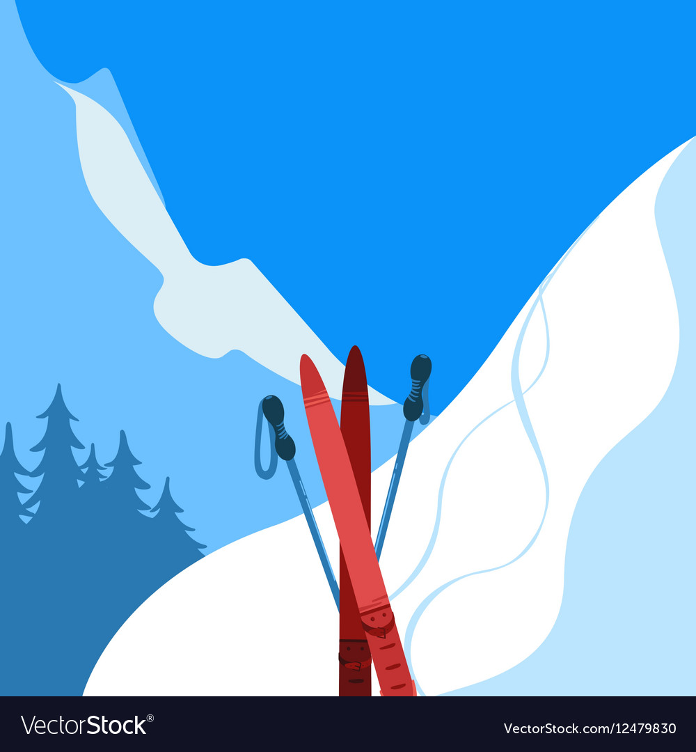 Mountains and ski equipment Winter background